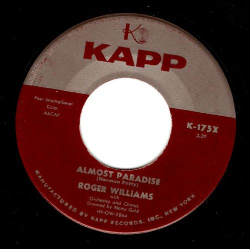 ROGER WILLIAMS Almost Paradise Vinyl Record 7 Inch US Kapp 1957